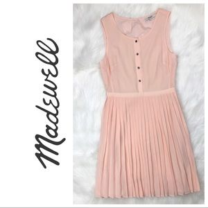 Madewell | Silk Blush Pink Pleated Dress